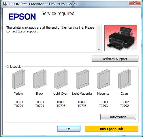 Ошибка памперса в драйвере принтера
